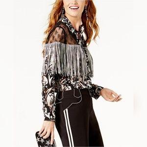 Anna Sui for INC Lace-Yoke Fringed Western Shirt